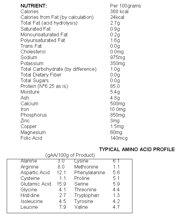 E105 Protein Isolate Nutritional Info